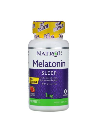 Natrol Melatonin Fast Dissolve, Strawberry, 1 mg, 90 Tablets