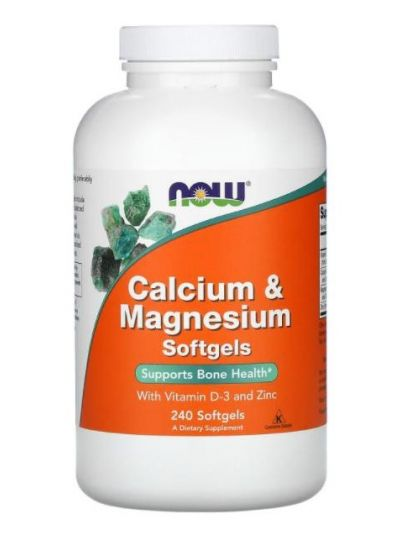 Now Foods Calcium & Magnesium with Vitamin D-3 and Zinc, 240 Softgels