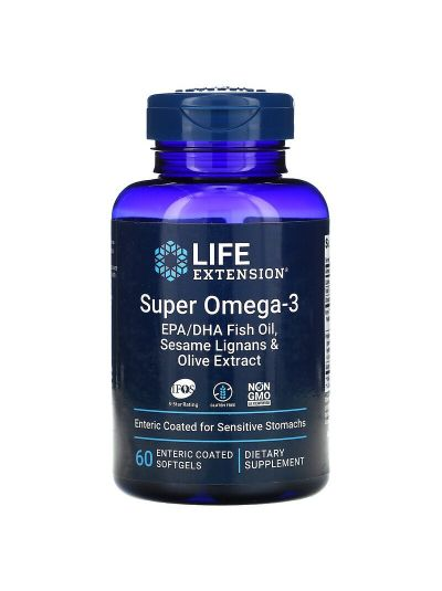 Life Extension Super Omega-3 m Sesamlignan+Olivenext. 60 enteric coated softgels