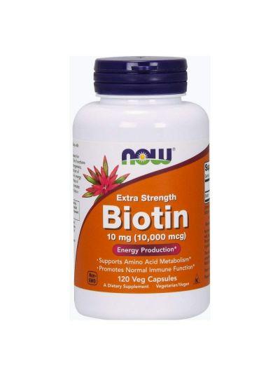 Now Foods Biotin Extra Strength 10 mg (10,000 mcg) 120 Veg Capsules