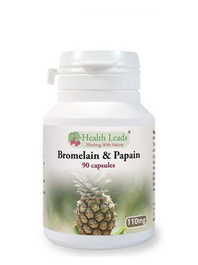 Health Leads Bromelain 10mg und Papain 100mg x 90 Kapseln
