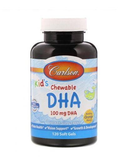 Carlson Labs, Kaubares DHA für Kinder, kräftiger Orangengeschmack, 120 Softgels