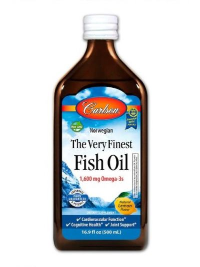 Carlson Labs Norwegisches Fischöl, das allerfeinste Fischöl, natürlicher Zitronengeschmack, 500 ml