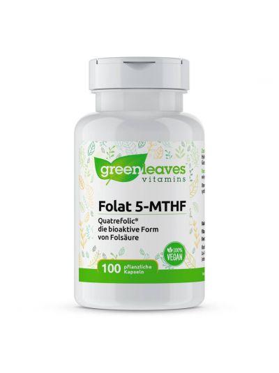 Green Leaves Vitamins Bioaktives Folat 5-MTHF 400mcg 100 Kapseln