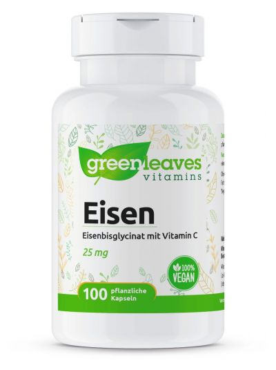 GREEN LEAVES IRON BISGLYCINATE 25 MG WITH VITAMIN C 100 CAPSULES