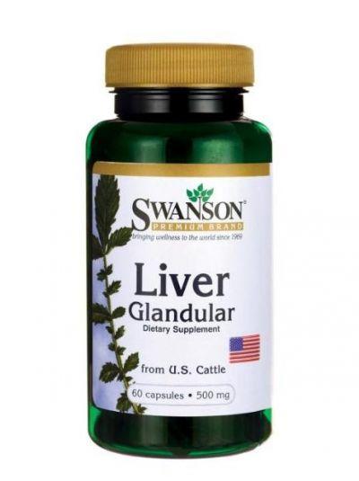 Swanson Liver Glandular Leber Drüse (aus Rinder) 500 mg 60 Kapseln