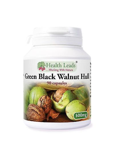 Health Leads GREEN BLACK WALNUT HULL 500MG X 90 VEGETARIAN CAPSULES