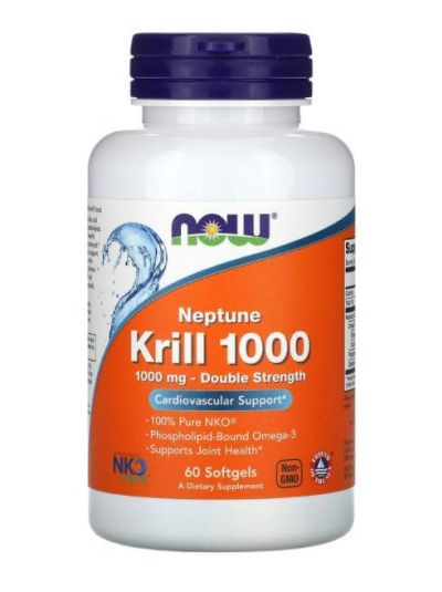 Now Foods Neptune Krill Oil 1000 Double Strength, 1,000 mg, 60 Softgels
