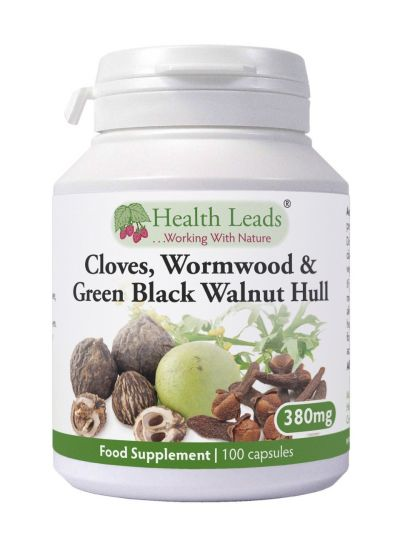 HEALTH LEADS SPICE CLOVES, WORMWOOD & GREEN BLACK WALNUT 380MG X 100 CAPSULES