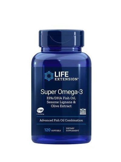 LIFE EXTENSION SUPER OMEGA-3 DOPPELT DOSIERT EPA / DHA M. SESAMLIGNANEN UND OLIVENEXTRAKT 120 SOFTGELS