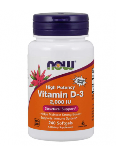 Now Foods Vitamin D-3 High Potency, 50 mcg (2,000 IU), 240 Softgels