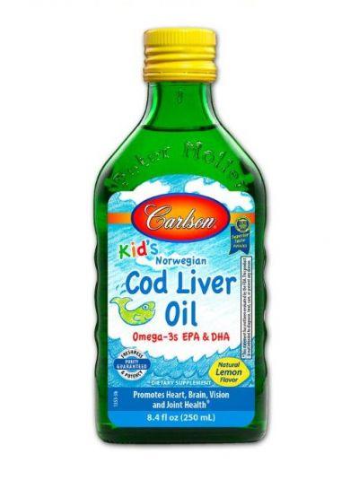 Carlson Labs Kid's norwegisches Dorschleberöl natürlicher Zitronengeschmack 250 ml