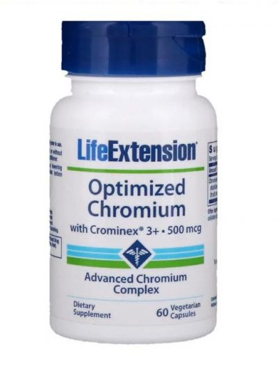 Life Extension Optimized Chromium mit Crominex 3+ 500 mcg 60 Vegetarische Kapseln