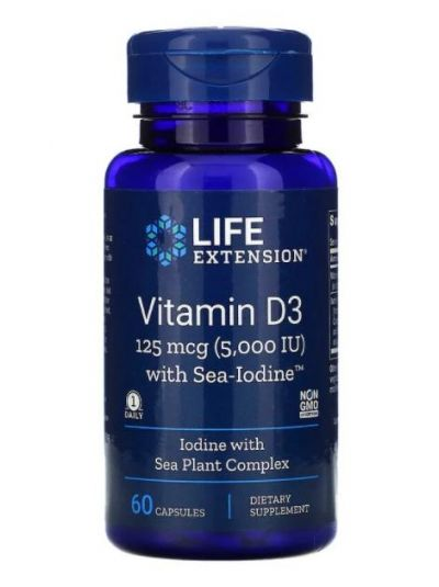 Life Extension Vitamin D3 mit Meer-Jod, 125 mcg (5,000 IU), 60 Kapseln