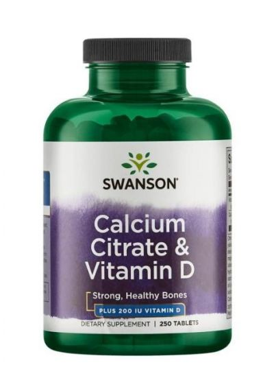 Swanson Calcium Citrate und Vitamin D 250IU 250 Tabletten