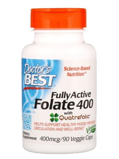Doctor's Best Fully Active Folate 400 w. Quatrefolic 400 mcg 90 Veg caps