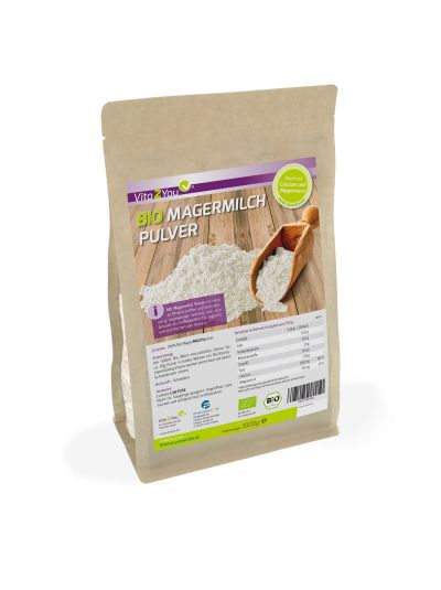 Vita2You Bio Magermilchpulver 1 kg - für Yoghurt - zum Backen - Kaffeeweißer uvm. Premium Qualität 1000g