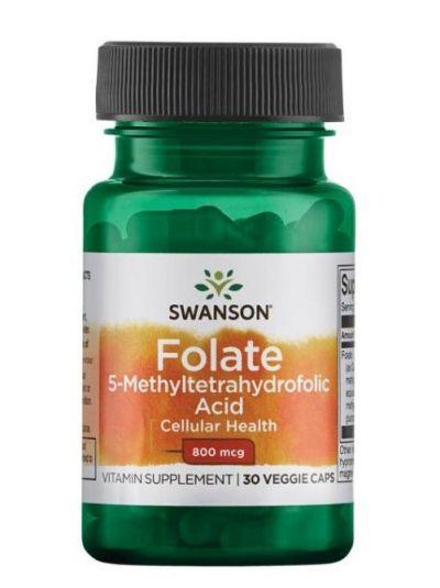 Swanson Folat 5-Methyltetrahydrofolsäure (als Quatrefolic®) 800 mcg 30 Kapseln